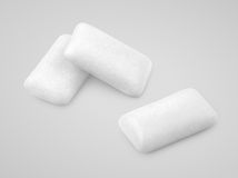 White chewing gums on gray Royalty Free Stock Photo