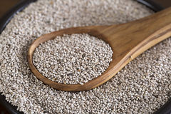 White Chia Seeds. Healthy white chia seeds in bowl with wooden spoon Royalty Free Stock Photos