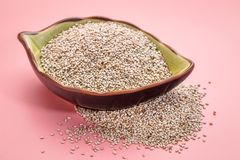 White chia seeds in a leaf bowl Royalty Free Stock Images