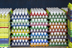 White chicken eggs in boxes in market, India stock photography