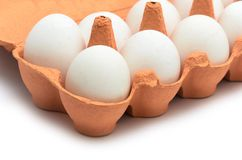 White chicken eggs in a cardboard container for storage and tran. Sportation isolated on white background Stock Photography