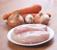 White chicken meat with ingredients Stock Images