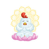 White chicken meditate Stock Photos