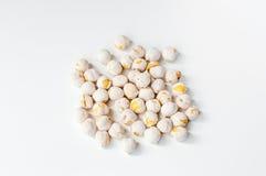 White chickpeas on white background Royalty Free Stock Photos