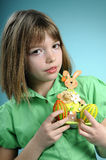White child showing easter decorations Stock Photos