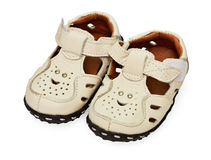 White children's leather sandals Stock Images