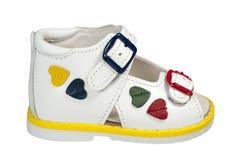 White children's sandal Royalty Free Stock Images