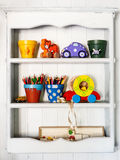 White children's shelf Royalty Free Stock Image