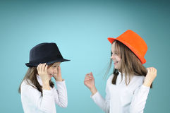 White Children Saluting Royalty Free Stock Photography