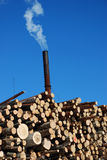 Air pollution. White chimney smoke air pollution with blue sky royalty free stock images
