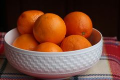 White china bowl filled with succulent juicy fresh oranges on an a checkered red blanket.Black background. White china bowl filled with succulent juicy fresh royalty free stock photos