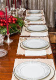 White China on Table Decorated for Christmas Royalty Free Stock Images
