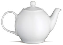White china tea pot teapot on a white background. A white china tea pot teapot on a white background Royalty Free Stock Photos