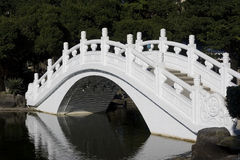 White Chinese Bridge. Chinese style bridge going over a lake, in a public space. This bridge is white royalty free stock images