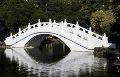 White Chinese Bridge. Chinese style bridge going over a lake. This bridge is part of the Chiank Chek Memorial Hall and is a top tourist site in Taipei. This stock images