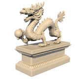 White Chinese dragon statue holding a ball Stock Photo