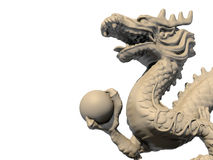 White Chinese dragon statue holding a ball Stock Images