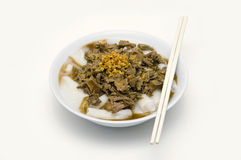 White Chinese roll noodle soup with pot-stewed duck Stock Photos