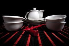 White Chinese tea set Royalty Free Stock Photos