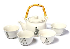 White Chinese tea set on the white background Stock Images