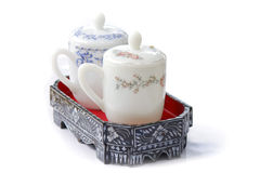 White Chinese tea set on a white background Royalty Free Stock Photo