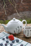 White Chinese teapot with cup of tea on woven mat and white towel with some blueberries and strawberry. White Chinese teapot with cup of tea on the woven mat and Royalty Free Stock Photography