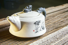 White Chinese teapot royalty free stock image