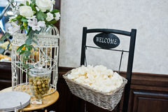 White chips with olives on wedding reception. Royalty Free Stock Image