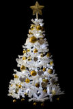 White Chistmas tree. White christmas tree in fron of a black solid background Stock Photos