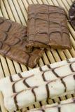 White Chocolate. Cookies on bamboo sheet Stock Photos