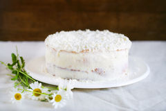 White Chocolate And Coconut Cake With Ricotta Filling Royalty Free Stock Photography