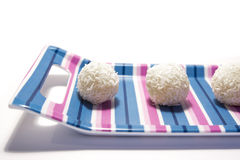 White chocolate balls with coconut Royalty Free Stock Image