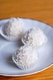White chocolate balls in truffles Stock Photography