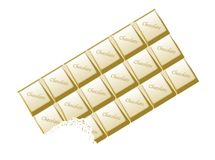 White Chocolate Bar Bite On white. A typical bar of white Chocolate with bite as a background Royalty Free Stock Photography