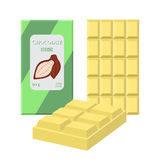 White chocolate bar. Cacao label package. Sweet milky product. Flat style Stock Images