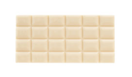 White chocolate bar, isolated on white Stock Photos