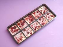 White chocolate with berries Royalty Free Stock Photo