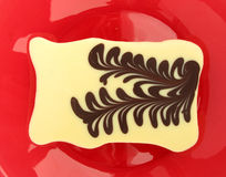 White chocolate with brown chocolate pattern Stock Photography