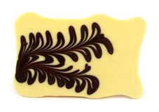 White chocolate with brown chocolate pattern Royalty Free Stock Photo