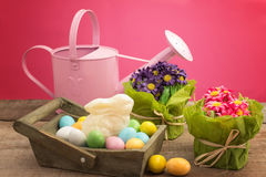White chocolate bunny inside basket with easter eggs and floral Stock Images