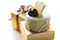 White chocolate cake. On gift box Stock Photo
