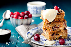 White chocolate cake, blondie, brownie with cranberry and coconut Royalty Free Stock Image
