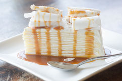 White chocolate cake with caramel Stock Images