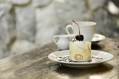 White chocolate cake with coffee Royalty Free Stock Image