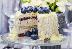 White chocolate cake decorated with blueberries Royalty Free Stock Image