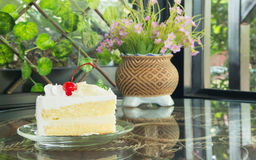 White chocolate cake. On the disk Royalty Free Stock Image