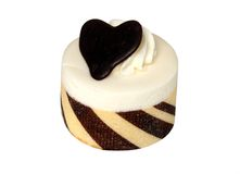 White chocolate cake with heart isolated. On a white background stock photo