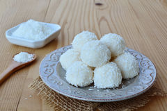 White chocolate candy coconut balls Stock Image