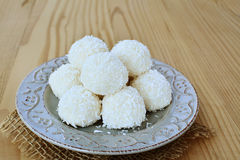 White chocolate candy coconut truffles Stock Photo
