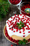 White chocolate cheesecake tart with cranberries Royalty Free Stock Image